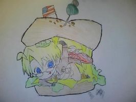 Chibi America- Cheeseburger by girfan18