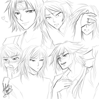 Generic Bishounen - FACES by LightSilverstar