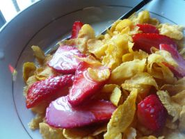 cereal and strawberry by plainordinary1
