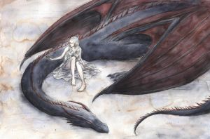 Daenerys and Drogon by ejbeachy