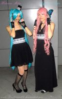 Hatsune Miku and Megurine Luka by AlyTheKitten