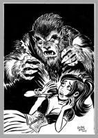 Mini Monster Ink Brush Drawing 2 Wolfman by BryanBaugh
