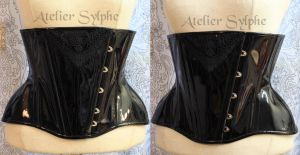 black shiny patent leather underbust corset by AtelierSylpheCorsets