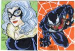two sketch card commission venom black cat by mdavidct