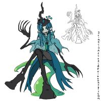 (in)Human Changeling Queen Chrysalis by grimarionette