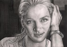 'Uma Thurman' graphite portrait by Pen-Tacular-Artist