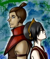 Toph and Sokka by some1ders13