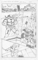 TMNT vs Zombies Page 1 Pencils by pinkhavok