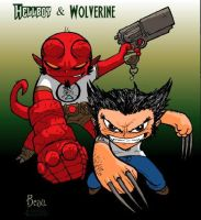 Chibi-Hellboy and Woverine 2. by hedbonstudios