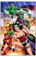 JLA Orignal Team in New 52 Uniforms- Color Print by aethibert