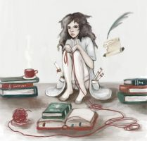 HG books and teacup by Leontopodium