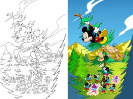 mickey mouse line art to color by mikey-c