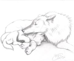 Momma wolf and cub by peca06