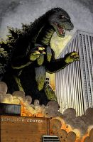 Godzilla vs Dayton OH colored by ragelion