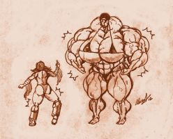 Big muscles legs vs huge Muscles by allegend