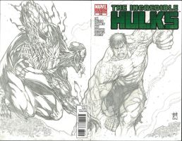 Hulk vs Venom Marvel Sketch Variant by Ace-Continuado
