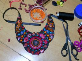 tribal bib necklace by AniDandelion