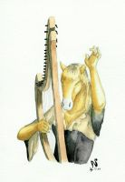 Labelle plays the harp by Nonosama