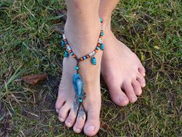 Barefoot Sandal Anklet with Agate and wooden beads by noisypixie