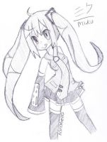 Miku Sketch 3 by hanahello