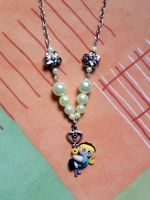 Necklace with Alice on key, flowers and pearls fim by bimbalove81