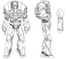 Power Armour drawing by winds-of-chaos