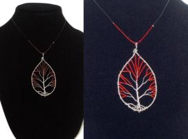Red Bead Tree of Life Necklace Fall Leaf by Tesa-studio