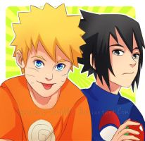 Art Trade- Naruto and Sasuke by Immature-Child02