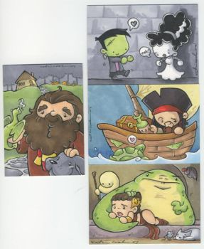 potter, jabba and pirate cards by katiecandraw
