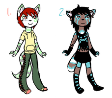 Anthro Adopts: Pastel and Non by Bamshee