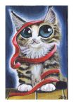 Funny cat cute tabby kitten painting by KingZoidLord