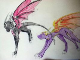 Spyro and Cynder by aquaheartthecat