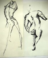 Gesture drawing with pen and ink by GiveMeAnIdea