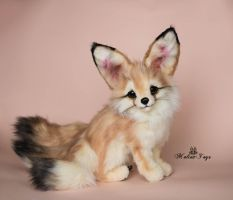 Poseable toy commission fennec fox with three tail by MalinaToys