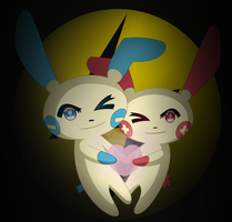 311-312: Plusle and Minun by Hot-Gothics