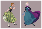 Elsa and Anna Coronation Dress by Limelight-Night