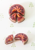 Polymer Clay : Peaches and berries cake by CraftCandies