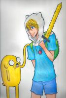 Anime Finn and Jake Colored by AoiNaito