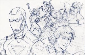 the avengers sketch by XMenouX