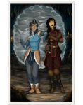 Korra and Asami at the Gate by DionysiaJones