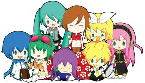 Chibi Vocaloids Colored by sakuradesune
