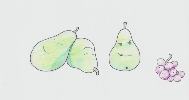 Pears and grapes by OpalTalons