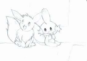 eevee and mudkip sketch by khfanT
