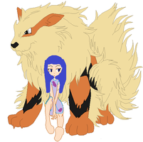 April Raina and Arcanine by MortelleTSpears