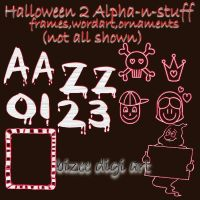 set 2 of Halloween alpha and elements by Bizee1