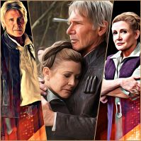 Han Solo and General Leia - The Force awakens - by Doveri