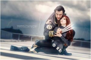 Wolverine and Jean grey by Evejo