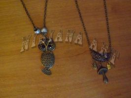 Owl and Wonderland Themed necklaces 2 by AxelOfArt