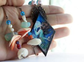 Soldered Glass and Beaded Mermaid Necklace by asunder