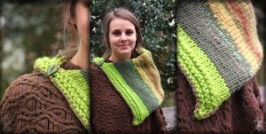 Green-khaki Snood-capelet by MademoiselleOrtie